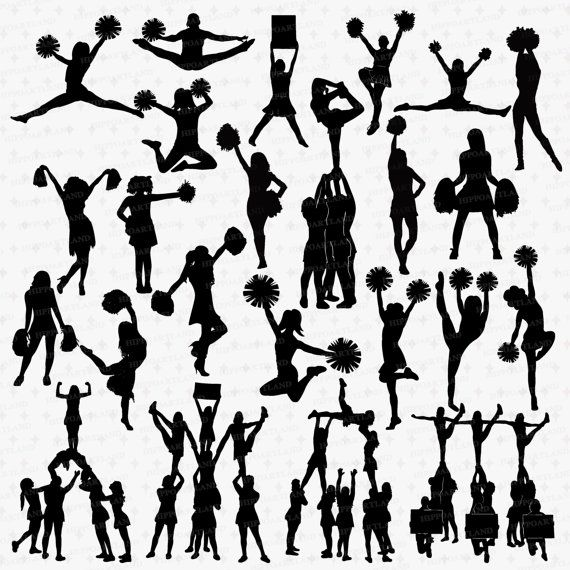 Cheerleader Silhouettes Clipart. INSTANT DOWNLOAD