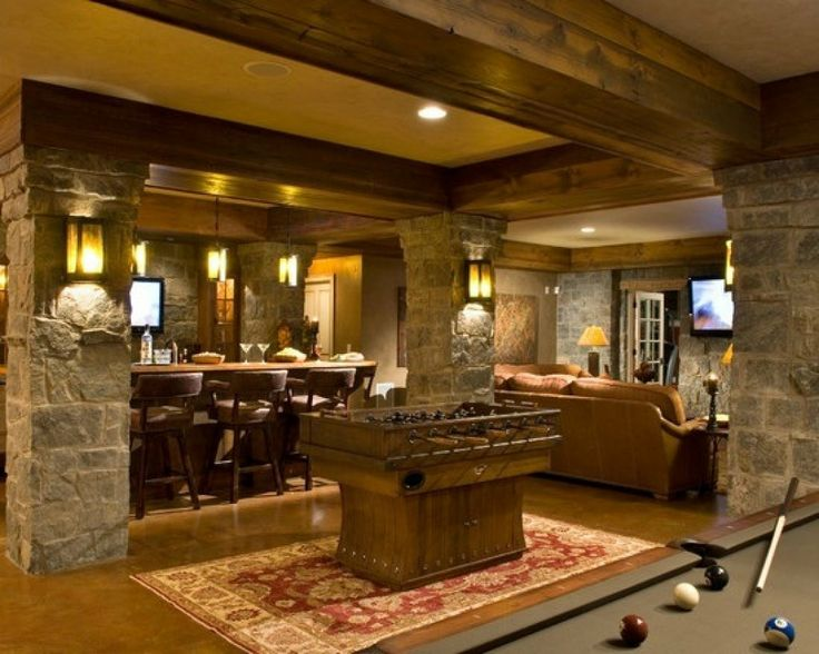 I SOOOO want a house with a basement one day!!  Rustic basement - Witt Construction