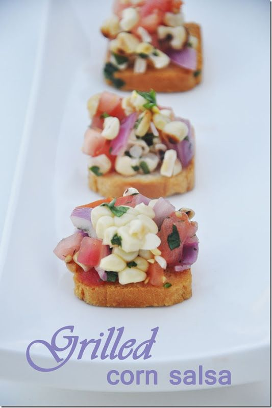 Yummy!  Grilled Corn Salsa.  Grill the corn and the onions to impart a wonderful flavor.  Making this all summer long!
