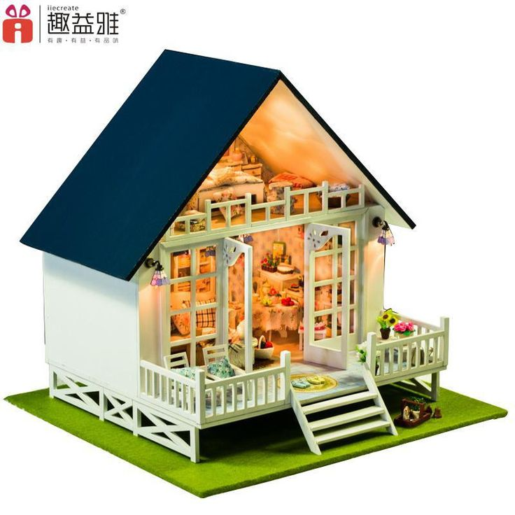 Home Decoration Crafts DIY Doll House large Wooden Dolls House 3D Miniature Model Kit dollhouse Furniture Room LED Light 130-17