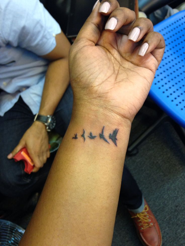 It's my wrist tattoo of birds symbolizing my family. My dad's the eagle who's leading the way for us... N we soar together. Did it for my 30th.