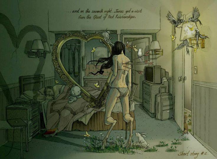 ...e na sétima noite, James recebeu uma visita do fantasma de relacionamentos passados.