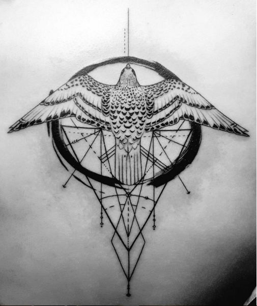 Self designed tattoo of a gyrfalcon with slightly asymmetrical symmetry. Done by Anton Heudecker at Hillsborough Street Tattoo and Piercing.