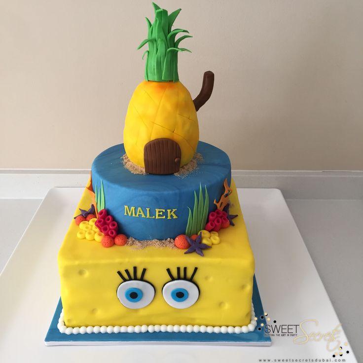 Sponge Bob 3 Tier Cake www.sweetsecretsdubai.com