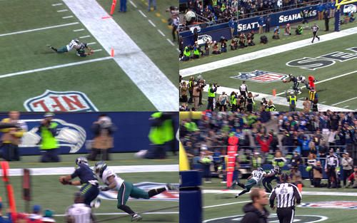 Take a unique look at Doug Baldwins trick-play touchdown pass to Russell Wilson during the Seahawks 26-15 victory over the Eagles at CenturyLink Field. Make sure next time you are at CenturyLink Field you check out the Seahawks mobile app to watch all of the live video streams throughout the game.