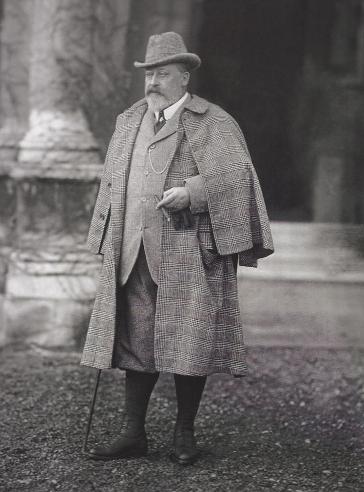 Edward VII in 1902 (so I know this isn't strictly Victorian) wearing a bespoke Inverness Cape by Henry Poole's. THIS royal is responsible for an incredible amount of male sartorial style.