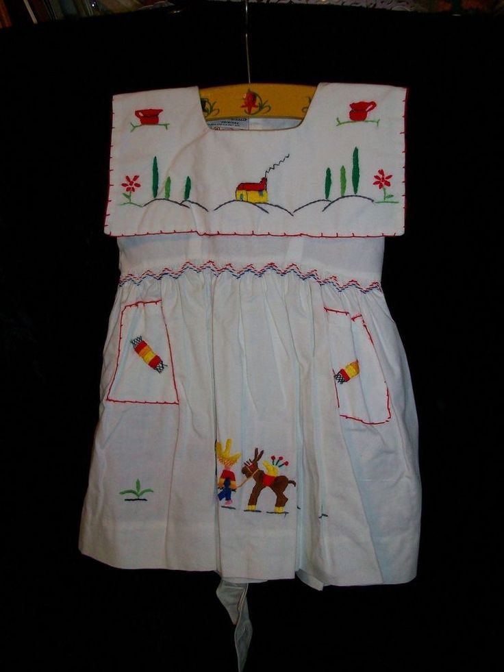 💛Rare Vintage 50's Mid-Century Maya de Mexico Girls White Embroidered Dress💛 #MayadeMexico