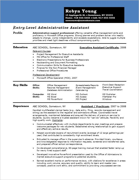 Even if you're just starting an administrative career, your resume needs to convey your versatility and proficiency. This sample shows you how.