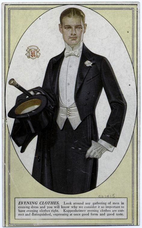 vintage mens clothing ads | Mens Evening Wear, Kuppenheimer ad, dated 1915, Source NYPL Image ID ...