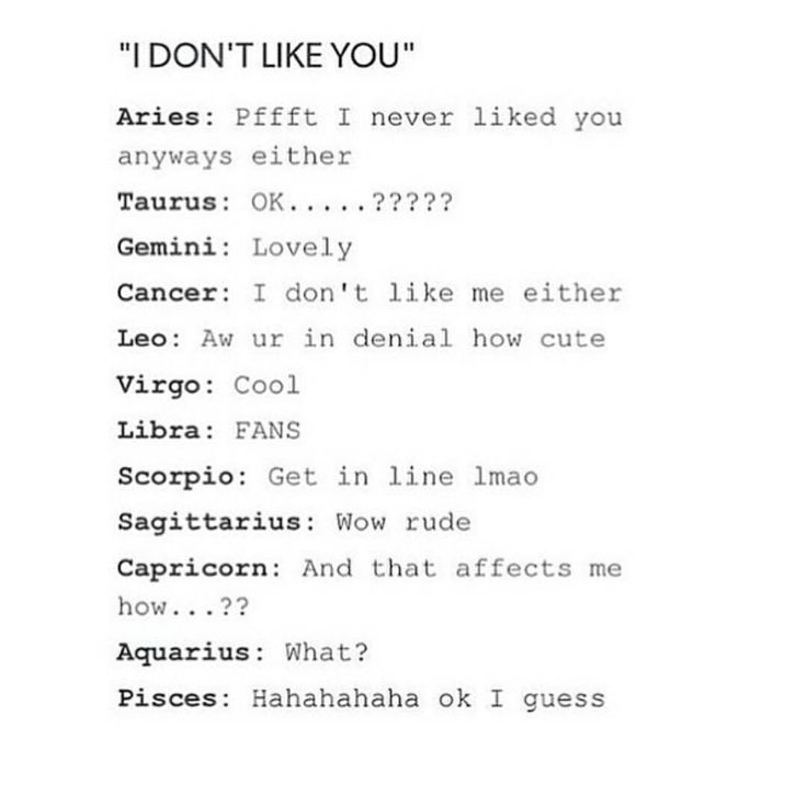 """Astrology signs reacting to """"I don't like you"""""""
