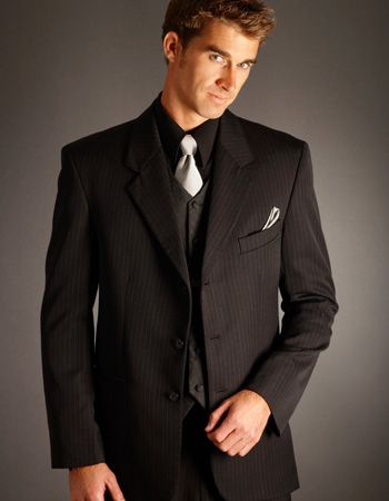 Black Pinstripe Suit Wedding | My Dress Tip