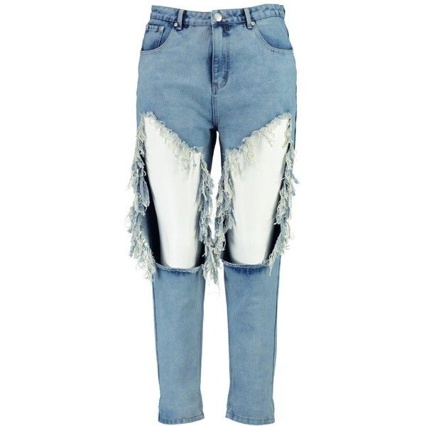 Boohoo Plus Scarlett Extreme Rip Mom Jean ($35) ❤ liked on Polyvore featuring jeans, ripped jeans, destructed jeans, destroyed jeans, destruction jeans and ripped blue jeans