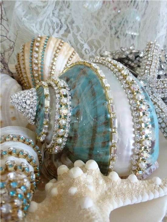 Sparkling Treasures From The Sea Bejeweled Aqua Shell One of A Kind-Weiss, Juliana,Victorian,Eisenberg, Judy Lee shell, bejeweled, beach cottage, chic, sparkling