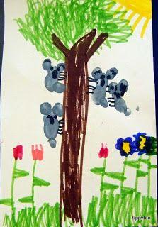 Tippytoe Crafts: Fingerprint Koalas (for K week...or Zoo Day if have Australia)