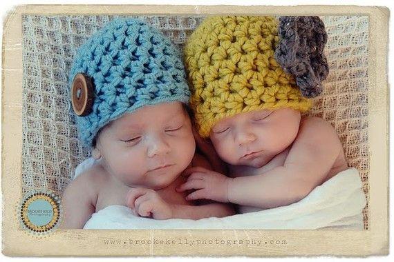 Vintage Twins Newborn Hat Set