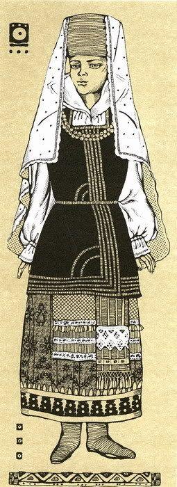 Тамбов, рисунок на юбке. Russian Costumes, Tambov. Patterned skirt
