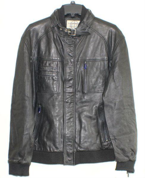 Boston Harbour Men's Leather Bomber Jacket - Black XL
