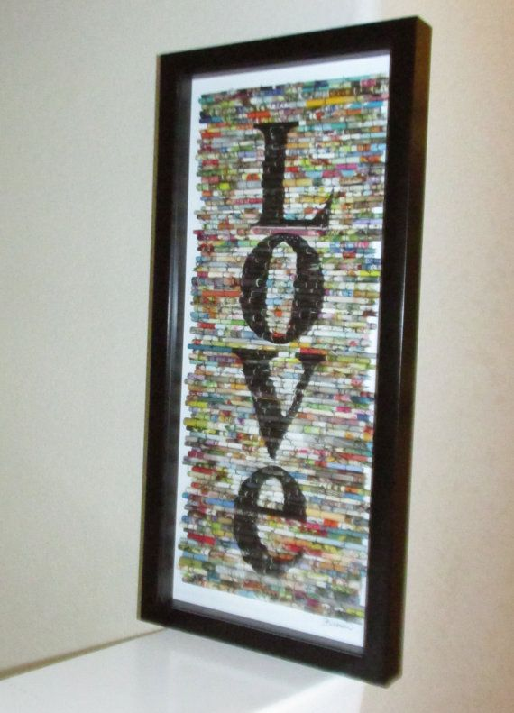 Anniversary, Wedding, Modern wall art, Modern recycled art, Rolled paper art, upcycled magazine images, text art, Love art