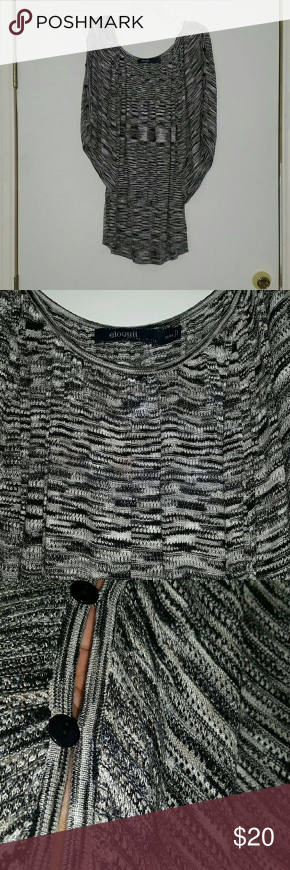 Sz 22/24 knit top by The Limited eloquii In great condition sz 22 24 The Limited top has scoop neck and batwing sleeves. Colors are black, gray white. Peek a boo sleeves with buttons.  Very flattering. The Limited Tops Blouses