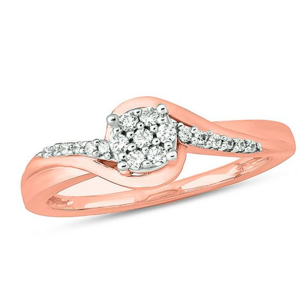 1 6 Ct T W Composite Diamond Bypass Swirl Promise Ring In 10k Rose Gold In 2020 Promise Rings Rose Gold Diamond Promise Rings