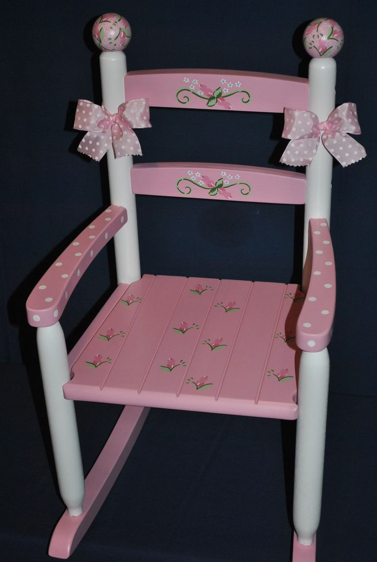 Hand Painted Pink Floral Rosebud Childrens Rocking Chair