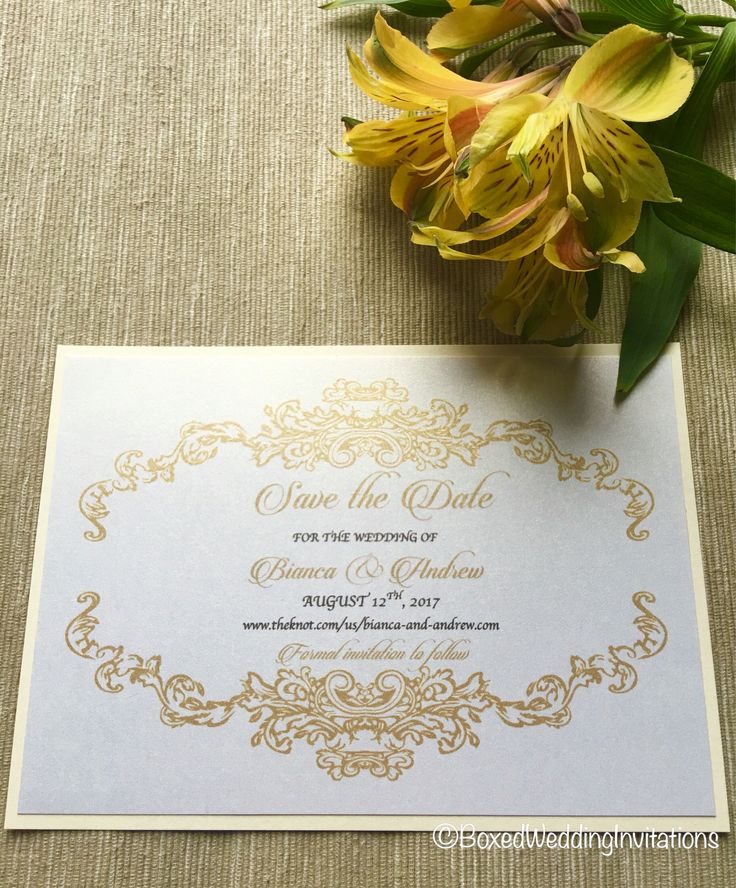 Save the date in gold and printed