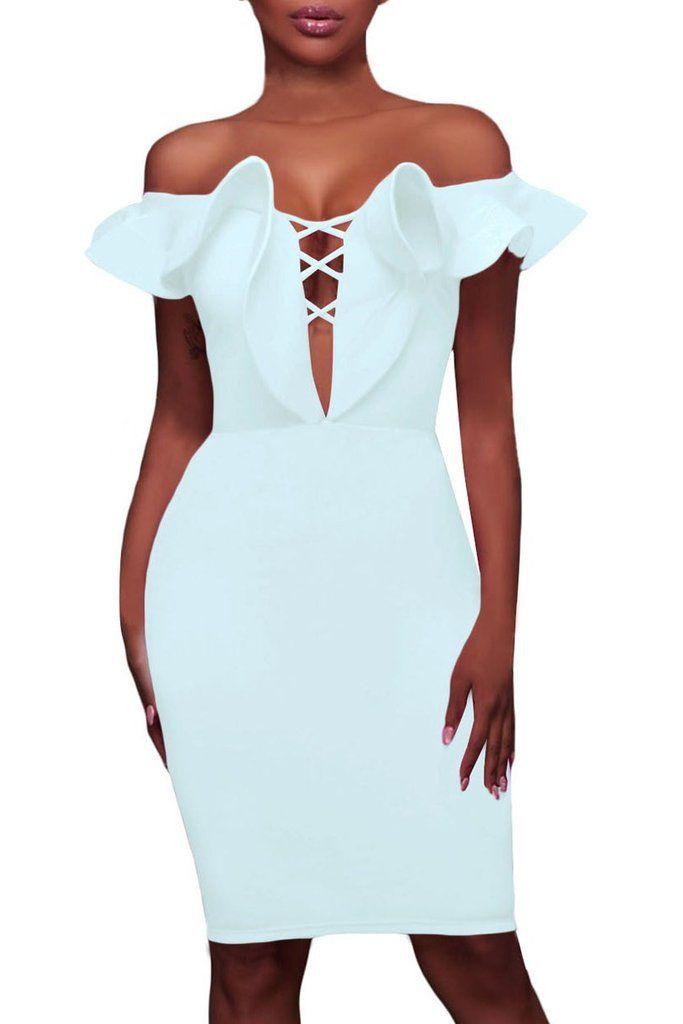 Robe de Soiree Moulante Mi Longue Blanche Collerette Col Bateau MB61537-1 – Modebuy.com