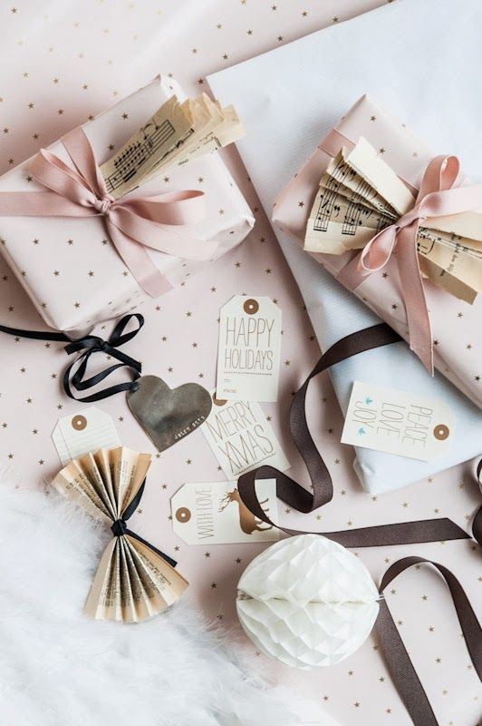 : Pink Christmas, Pale Pink, Sheet Music, Pastel Christmas Gifts Wraps, Music Sheet, Pastel Christmas Wraps, Pink Gifts Wraps, Wraps Ideas, Music Bows