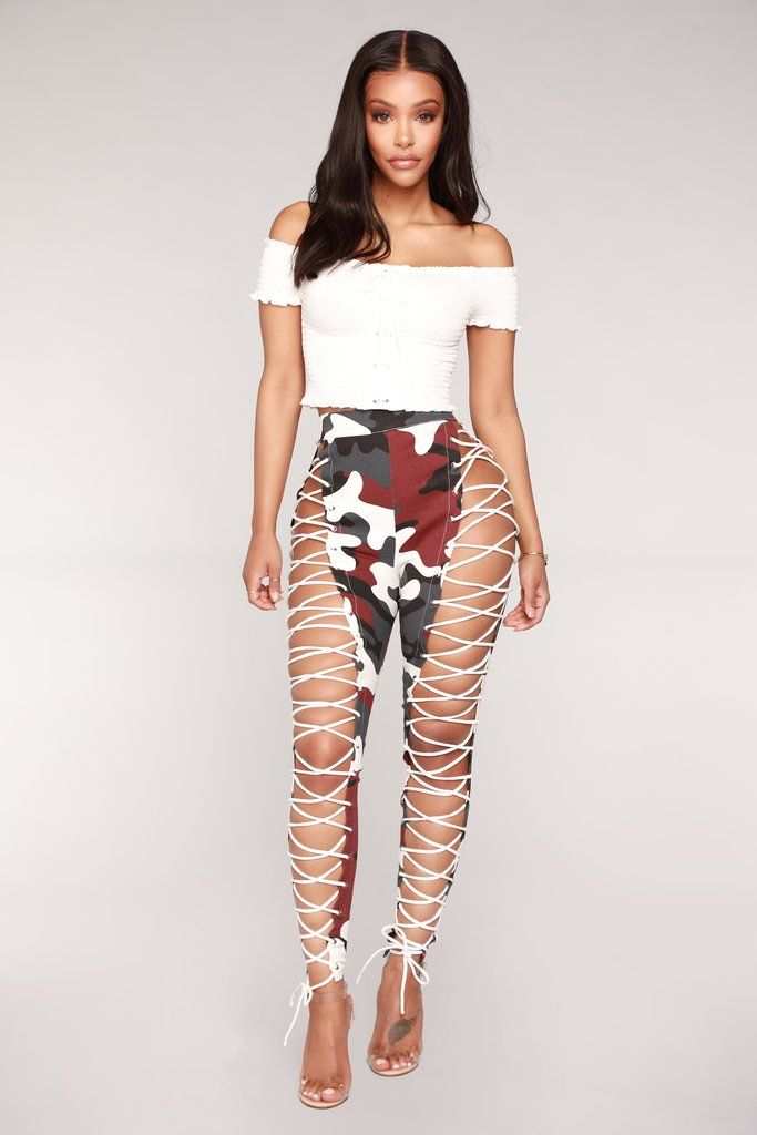 c5989696217d2 Up To Your Imagination Lace Up Camo Pants - Burgundy Camo in 2019 ...
