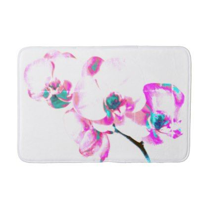 Orchids Bathroom Mat - purple floral style gifts flower flowers diy customize unique