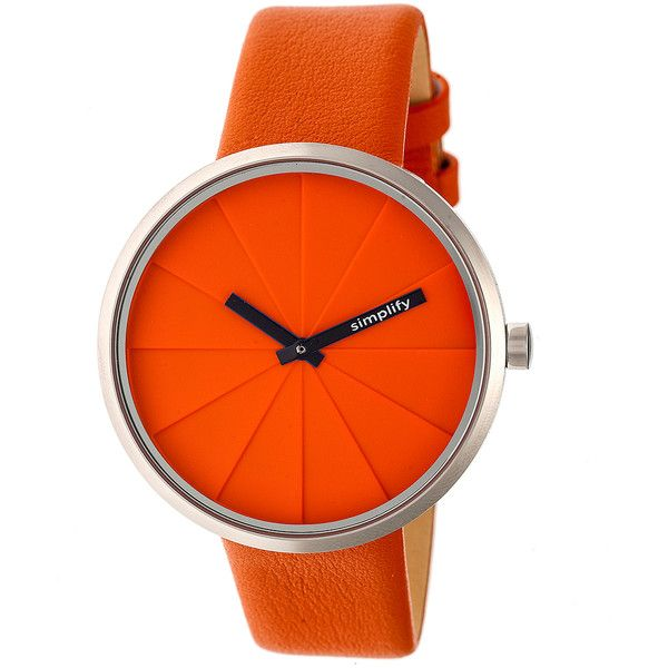 Men's Simplify Watches Simplify Unisex 4000 Collection WatchSIM4006 ($35) ❤ liked on Polyvore featuring men's fashion, men's jewelry, men's watches, jewelry & watches, orange, mens leather strap watches, mens orange watches, mens watches and mens watches jewelry