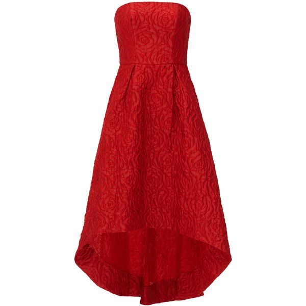Rental ML Monique Lhuillier Crimson Rose Gown ($100) ❤ liked on Polyvore featuring dresses, gowns, red, red gown, straight dress, red ball gown, jacquard dress en crimson red dress