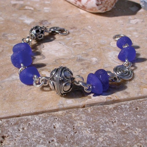 Bracelet with cobalt blue sea glass and Balinese silver beads - Pure Nirvana! $185.00: Sea Glass