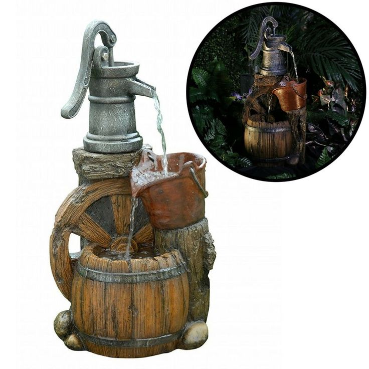 Durable Outdoor Water Fountain Pump Metallic Old Fashion Wood Design Decorative #DurableOutdoorWaterFountain
