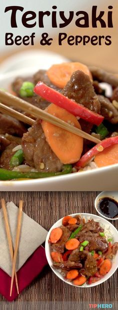 Teriyaki Beef & Peppers Recipe | Whip up this take-out favorite right at home in no time. It's surprisingly easy to make with a simple marinade that packs in the flavor. All you need is top round steak, teriyaki sauce, garlic, ginger, red pepper flakes, oil, bell peppers, onions and carrots to make this stellar dish. Click for the recipe and how-to video. #homecooking #familydinner #takeout #easyrecipes