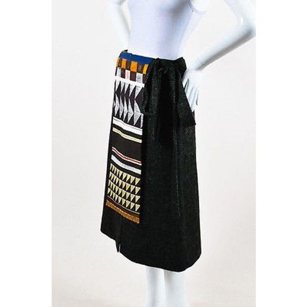 """Pre-Owned Stella Jean Nwt Green Multicolor Wool Printed Paneled """"""""Accogliere""""""""Skirt Sz 42 featuring polyvore, women's fashion, clothing, skirts, multi, stella jean skirt, multi color skirt, a-line skirt, green maxi skirt and green skirt"""