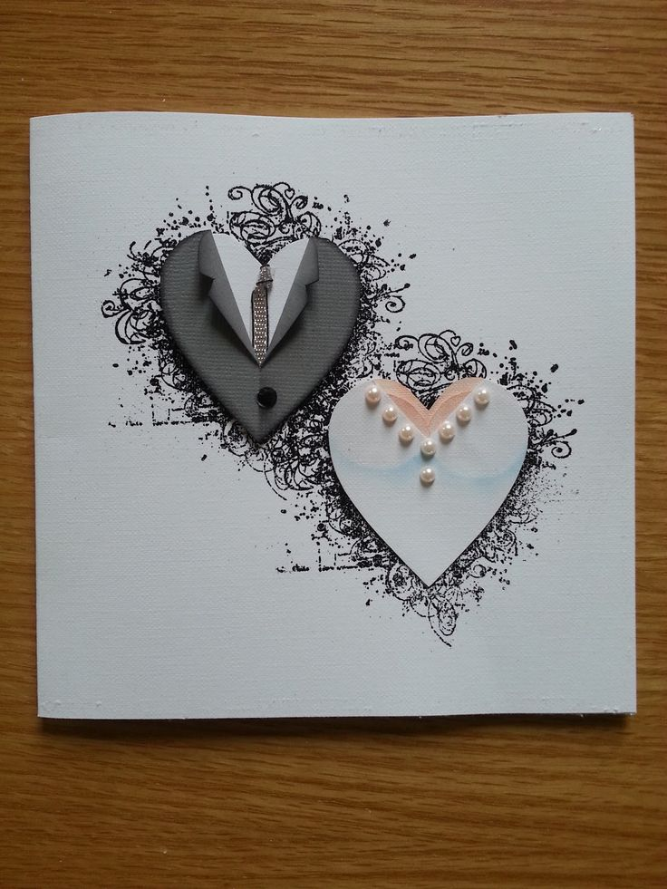 handmade wedding card from Lotta´s blog: Paper piecing ... hearts decorated as the torso of a groom and a bride ... clean and simple ... luv the clever design ...