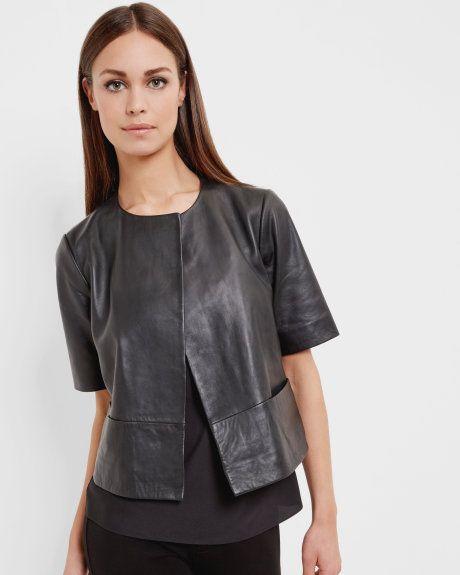 Short leather jacket - Black   Jackets & Coats   Ted Baker