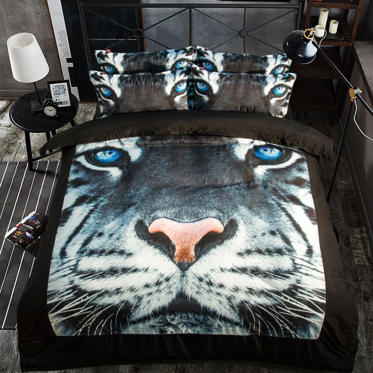 ==> [Free Shipping] Buy Best 3pcs Top Quality Cartoon 3D black Bedding Set Bedspread Tiger Animal Sheet Boys Kids Duvet Cover King Queen full size pillowcase Online with LOWEST Price   32809172661