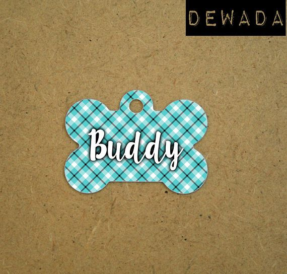 Dog tag for dogs personalized geometric blue