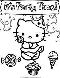 hello kitty birthday coloring pages to print printable treats - Coloring Pages To Print Of Hello Kitty