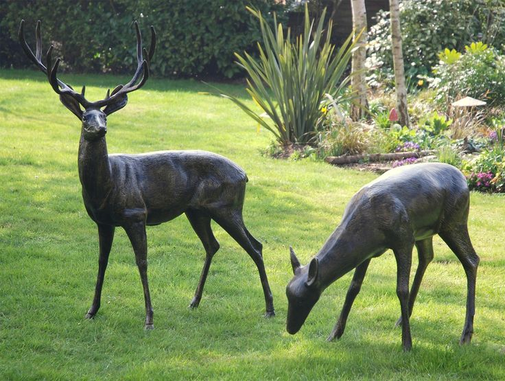 Extra Large Stag & Doe Bronze Statue Metal Garden Sculpture . Buy now at http://www.statuesandsculptures.co.uk/extra-large-stag-doe-bronze-statue-metal-garden-sculpture