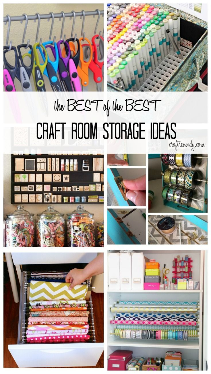 The Best of the Best Craft Room Storage Ideas. Storage space for scissors, sketch markers, stamps, ribbon, thread, fabric and more! Click on over to see ideas that will blow  you away!