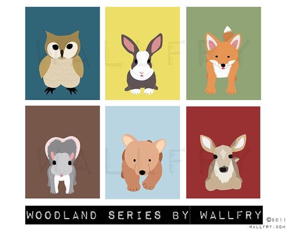 Deer woodland nursery decor print Forest animal nursery by Wallfry, $18.00
