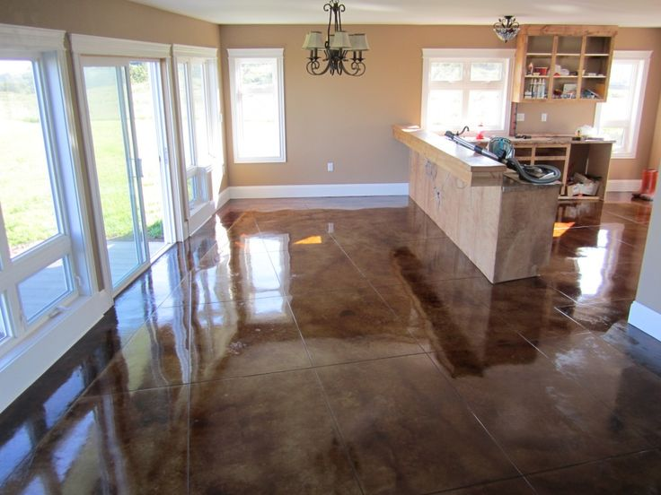 Polished concrete floors in homes services for Stained polished concrete floor