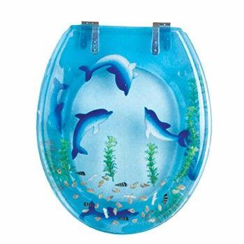 Polyresin #Toilet #Seat Dolphin Swim Standard Round Chrome # 16943 Shop --> http://www.rensup.com/blue-toilet-seat/16943.htm