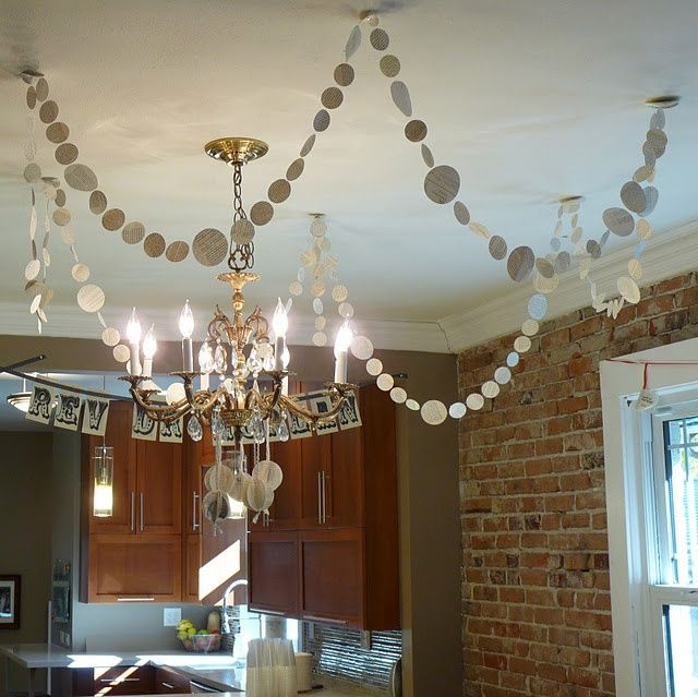 hang garland from the ceiling