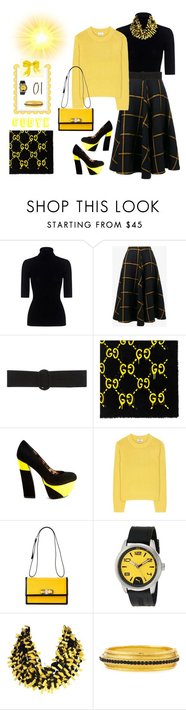 """Black & Yellow"" by cody-k ❤ liked on Polyvore featuring Theory, JOUR/NÉ, Oscar de la Renta, Gucci, Betsey Johnson, Acne Studios, Salvatore Ferragamo, Puma and Jose & Maria Barrera"