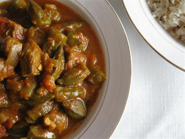 An Edible Mosaic » Persian Meat & Okra Stew (Khoresh Bamieh)