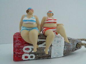 SEASIDE LARGE LADY /  FAT LADY IN BIKINI SHELF SITTER BATHROOM ORNAMENT NAUTICAL